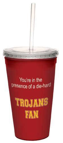 Tree-Free Greetings cc34932 Trojans College Basketball Artful Traveler Double-Walled Cool Cup with Reusable Straw, 16-Ounce