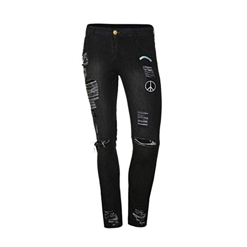 Fit Mezclilla Motocicleta Slim De Logo Pantalones Negro Casual Hombre Elástica Streetwear Cómodo Crests Battercake Destruidos Summer Jeans n6xwq5O87O