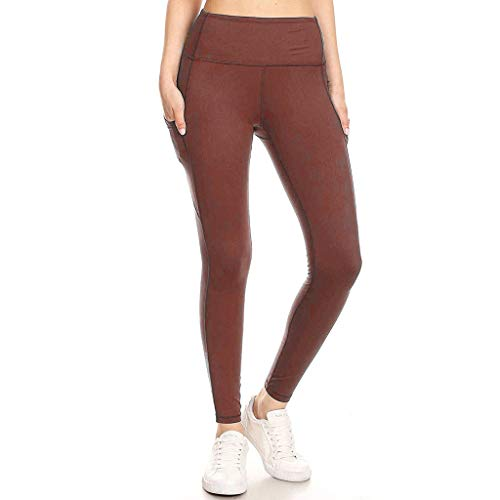 Sinfu Yoga Pants, Women's Sports Sequined Pocket Yoga Leggings Workout Fitness Running Stretch Slim Pants Trousers (L, Brown)
