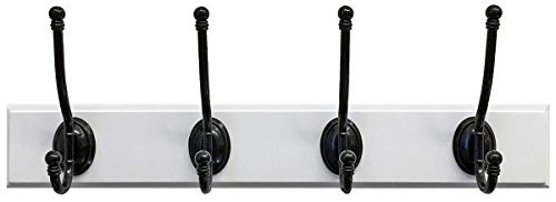 Headbourne 18-Inch White Rail//Coat Rack with 4 Black Nickel Triple Hooks Shepherd Hardware 8019E
