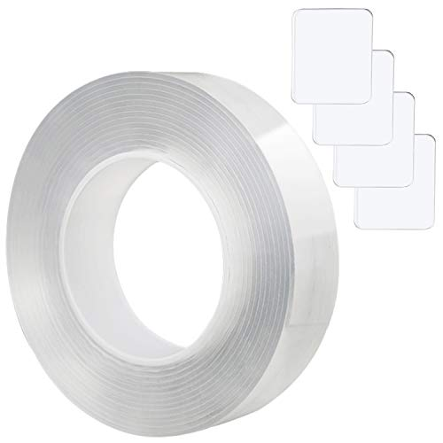 APOPSICLE 더블 양면 테이프 접착제 나노 그립 젤 이동식 테이프 STICYK 명확한 재사용할 수 있는 설정의 1 개 롤과 패드 4(1 롤 3.28FT(1M)+4 패드)