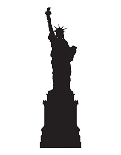 (Stickerbrand Statue of Liberty Vinyl Wall Art Decal Sticker NYC Theme home decor. #207A (BLACK) 70in Tall x 21in Wide)
