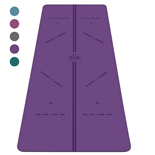 """Heathyoga ProGrip Non Slip Yoga Mat with Alignment Lines, Revolutionary Wet-Grip Surface & Eco Friendly Material, Perfect for Hot Yoga and Bikram, Free Carry Bag 72""""X26"""" (Purple)"""