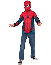 Boys Spider-Man Far From Home Blue And Red Shirt And Mask Costume