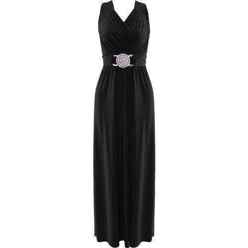 Robe Femme Cocktail Soirée Drapé Maxi-Longue Grande Taille Boucle A La Taille - Noir, EU 44-46