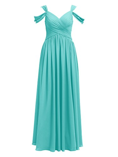 Alicepub Pleated Chiffon Maxi Bridesmaid Dress Long Formal Event Dress for Party, Tiffany, US6