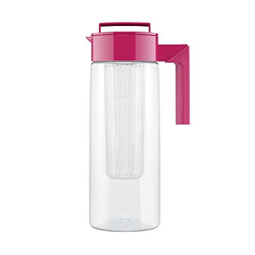 Takeya Flavor Infusion Maker, 2 Quart, Raspberry BPA-Free Fruit and Vegetable Water Tea Infuser Pitcher
