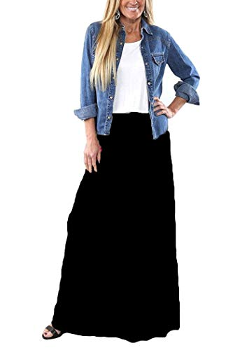 Yinggeli Women's Bohemian Print Long Maxi Skirt (XXX-Large, H-Flower)