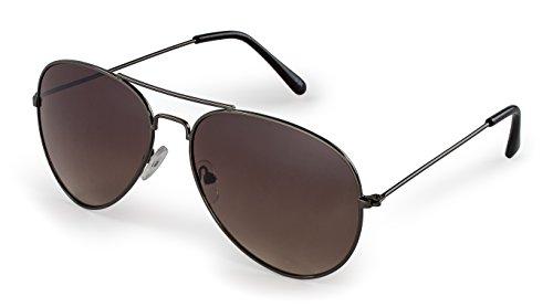 Stylle Aviator Sunglasses, Gunmetal Frame With Brown Lenses, 100% UV Protection