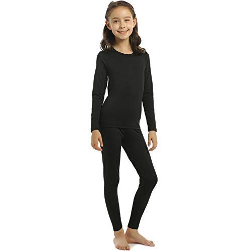 Girls Thermal Underwear Set Kids Long Johns with Fleece Lined Ultra Soft Top & Bottom Base Layer Thermals for Girl Black