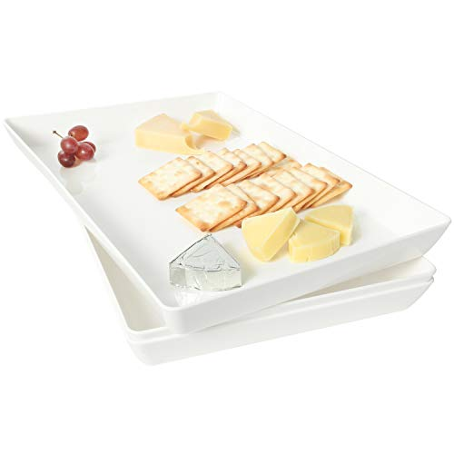 Youngever 3 Pack Plastic Serving Trays, Serving Platter for Parties, Sturdy ABS material, White Color, 15 inch x 10 inch