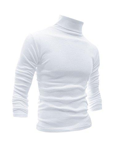 uxcell Men Slim Fit Lightweight Long Sleeve Pullover Top Turtleneck T-Shirt White L (US 44) ()