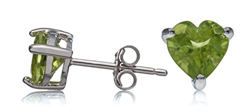 Silver Heart Sterling Shape Earrings (Sterling Silver Stud Earrings Peridot Heart Shape 6mm)