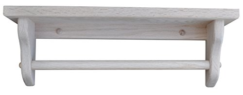 "Towel Bar Shelf Amish Solid Wood Wall Mounted – Custom Available – Custom Available – 18"" Oak Wood, Unfinished"