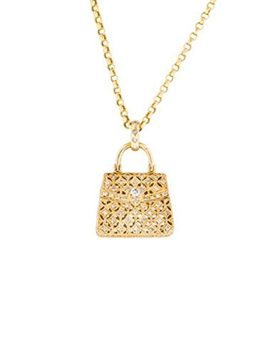 Diamond Handbag Pendant Necklace 14K Yellow Gold 1/2 Carat Diamonds