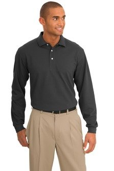 port-authority-signature-rapid-dry-long-sleeve-polo-k455ls-charcoal-l