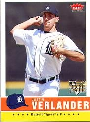 2006 Fleer Rookie Baseball Card - 2006 Fleer Tradition Baseball Rookie Card #173 Justin Verlander Near Mint/Mint