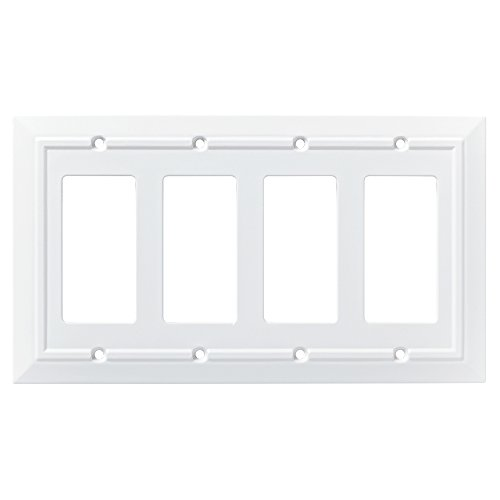 Franklin Brass W35252-PW-C Classic Architecture Single Switch Wall Plate/Switch Plate/Cover, White - Collection Quad Outlet Plate