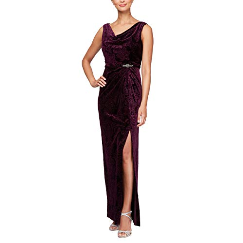 Alex Velvet Evenings - Alex Evenings Women's Petite Long Velvet Dress Gown Different Necklines Available, Royal Purple 8P