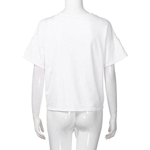 camicetta bianca donna Top ragazza corte lettera Shirt Print Floral rosa Angelof girocollo maniche 8wU17Zq