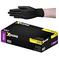 Livingstone Black Thick Nitrile Gloves, Powder Free, Double Extra Large, 90 per Box