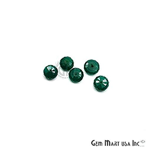 Green Onyx Faceted Beads, Round Beads, Gemstone Beads, Rondelle Beads, Jewelry Making Supplies GemMartUSA (DRGO-70003)