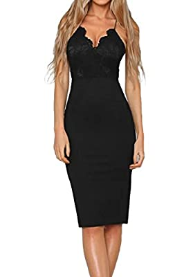 Allimy Women Sexy Lace Detail V Neck Bodycon Midi Dresses Party Cocktail Dress