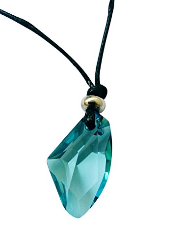 Crystal+Transparent+Wishing+Rhinestones+pendant+Leather+rope+Necklace+Max+23.6%22+%28Sea+blue%29
