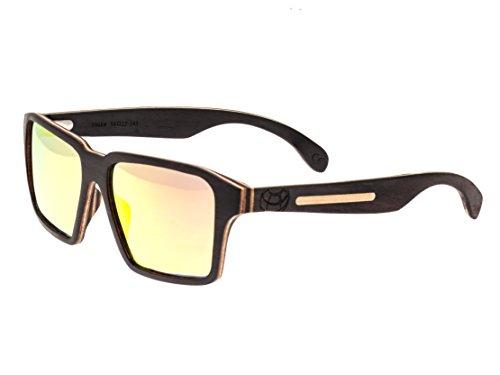 Earth Wood Piha Polarized Wayfarer Sunglasses, Ebony//Redyellow, 56 mm - Earth Polarized Wood Sunglasses