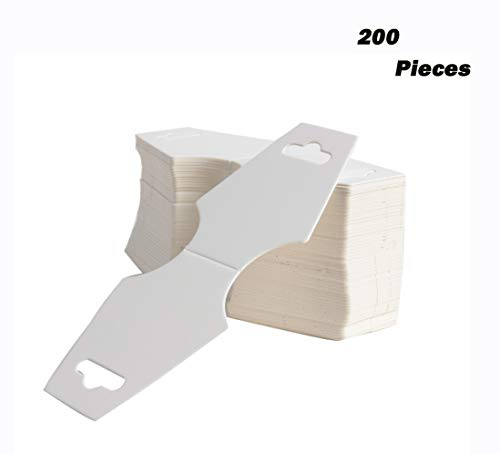 Happy Shop 200 pcs Blank White Kraft Paper, Necklace Display Cards Display Hanger Hanging Cards,12.5 x 5CM