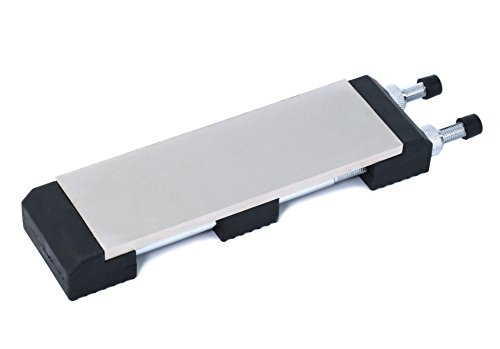 Diamond Sharp 3 X 8 inch Two 2-Sided Ultra Sharp, Continuous Sharpening Steel Whetstone & Bench Stone Knife, Tool, Chisel, Blade Sharpener | No-Slip Adjustable Base | 400-1000 Grit | FREE e-Book.