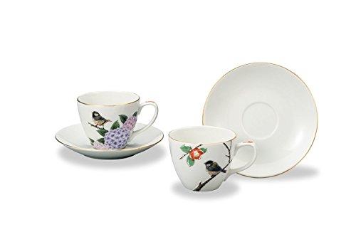 JAPANESE Kutani Pottery Summer&Winter Pair coffee AP3-0961 Made in Japan ... by Kutani