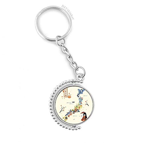 Traditional Japanese local cultural Map Rotatable Key Chain Ring Keyholder