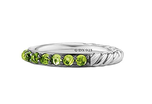 Diamond Yurman Ring David - David Yurman 3mm Cable Berries Peridot & Sterling Silver Band Ring # 32R