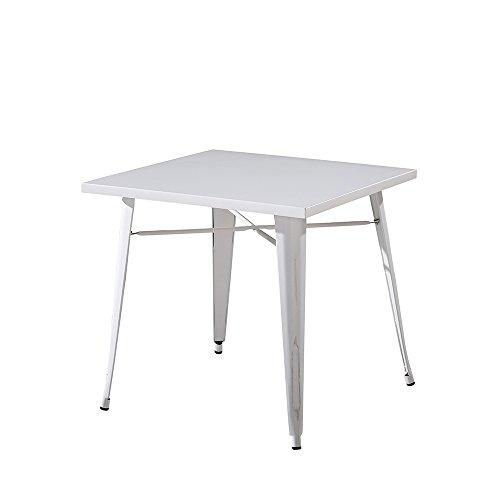 Italian Concept 179 Mesa Industrial, Metal, Blanco, 80 x 80 x 75 ...
