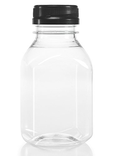(Clear Food Grade Plastic Juice Bottles 8 Oz with Cap 12/pack)