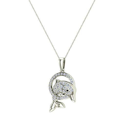Bottle-Nose Dolphin 14K White Gold Necklace Diamond Charm Pendant 0.74 Carat Total -