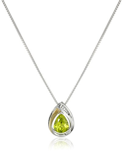 Sterling Silver and 14k Yellow Gold Peridot and Diamond-Accent Tear Drop Pendant Necklace, 18