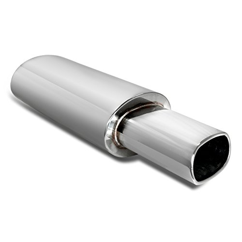 Spec-D Tuning MF-RS361 Stainless Stetel Oval Style Muffler Without (Oval Tips Chevrolet Corvette)