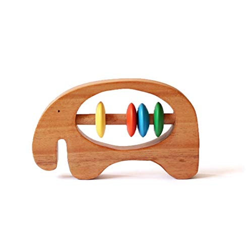 Shumee Organic Wooden Elephant Rattle and Teether for Babies - Handcrafted, 100% Safe, Natural & Eco-Friendly Grasping, Clutching Montessori Toy (0 - 1 Year)