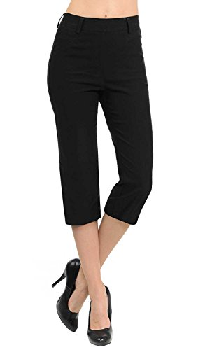(VIV Collection New Women's Straight Fit Trouser Capri Pants (Small, Black))
