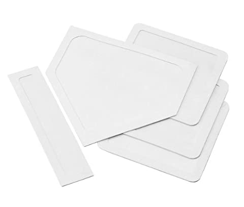 Champion Sports Indoor Outdoor Bases: White Youth League Baseball & Softball Rubber Throw Down Base Set - Boys & Girls Training & Practice - Youth Base Set