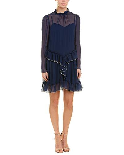 See by Chloe Womens Chiffon Ruffle Silk Shift Dress, 38, ()