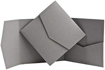 Dove Grey Matte Pocketfold Invites 144mmx144mm 1