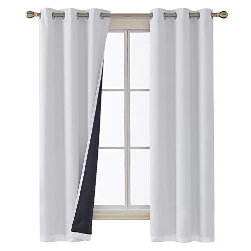 Deconovo Greyish White Blackout Curtains with Double Layer Liners Thermal Insulated Room Darkening Curtain Panels for Nursery 38W x 72L 2 Panels