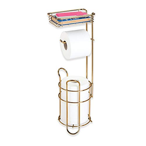 (mDesign Freestanding Metal Wire Toilet Paper Roll Holder Stand and Dispenser with Storage Shelf for Cell, Mobile Phone - Bathroom Storage Organization - Holds 3 Mega Rolls - Soft Brass)
