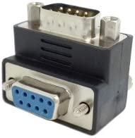 Cablecc DB 9pin RS232 Male to Female Extension Cable Adapter Up Angled 90 Degree