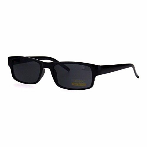 All Black Narrow Rectangular Thin Plastic Mens Minimal Mod Sunglasses (Narrow Sunglasses For Men)