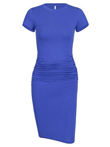 Laughido Women's Crew Neck Knee Length Bodycon Stretchy Mini Party Dress