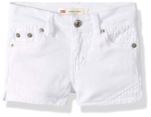 Levi's Girls' Little Denim Shorty Shorts, White Embroidered, 5 (Best Jeans Brand For Girls)